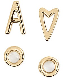 4-Pc. Set Initial Mismatch Stud Earring Sets