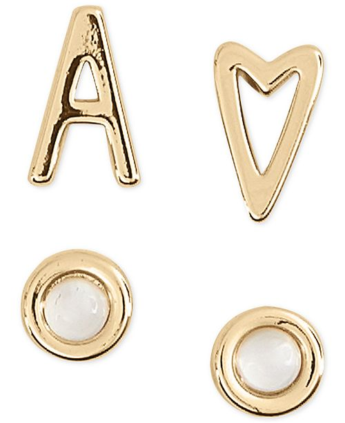 Lucky Brand Gold-Tone 4-Pc. Set Initial Mismatch Stud Earrings