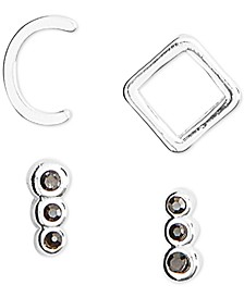 Silver-Tone 4-Pc. Set Initial Mismatch Stud Earrings