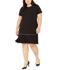 Plus Size Studded Short-Sleeve Sheath Dress