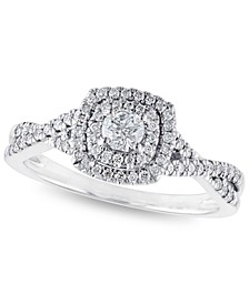 Certified Diamond 3/8 ct. t.w. Halo Engagement Ring in 14k White Gold