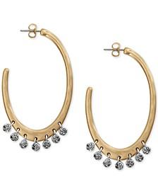 "Two-Tone Pavé Charm Large Hoop Earrings, 2-1/4"""