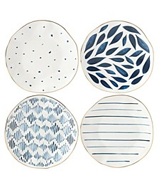 Blue Bay Set/4  Assorted Dessert Plates