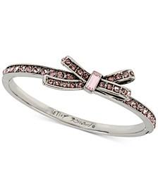 Silver-Tone Crystal Bow Bangle Bracelet