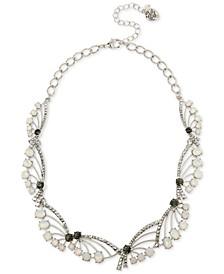 "Silver-Tone Pavé & Stone Spray Collar Necklace, 17"" + 3"" extender"