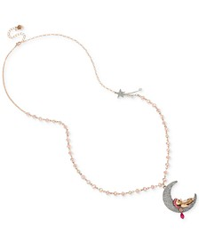 """Two-Tone Crystal & Imitation Pearl Bear & Moon Lomg Pendant Necklace, 33"""" + 3"""" extender"""