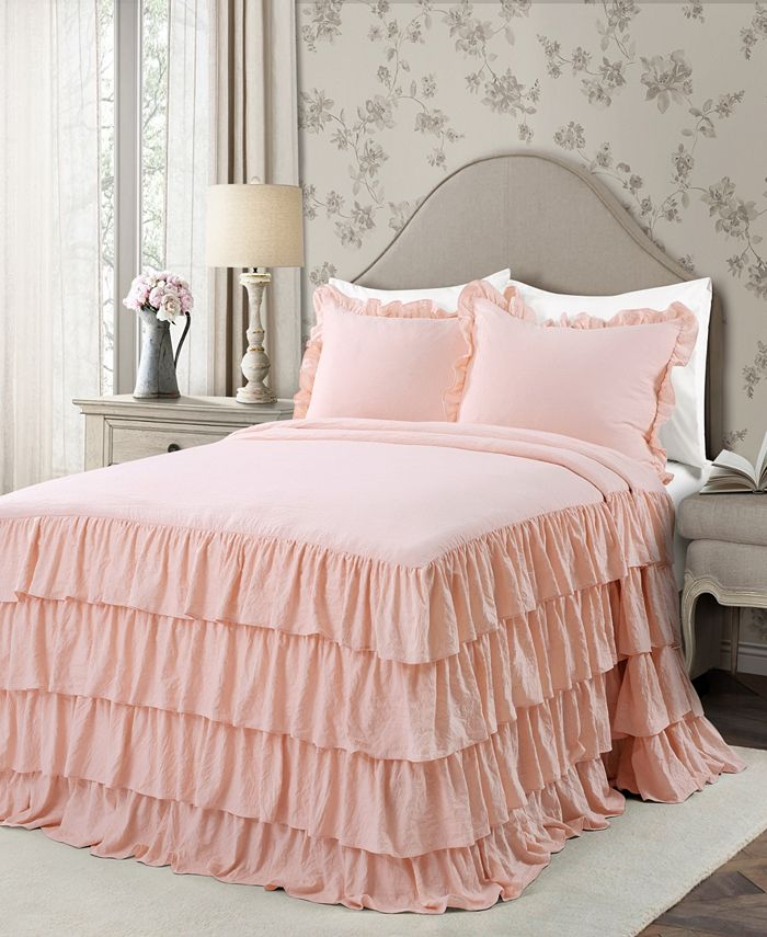 Lush Décor - Allison Ruffle Full 3-Piece Bedspread Set