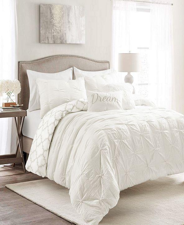 Lush Decor Ravello Pintuck Geo Reversible 7-Piece Full/Queen Comforter Set
