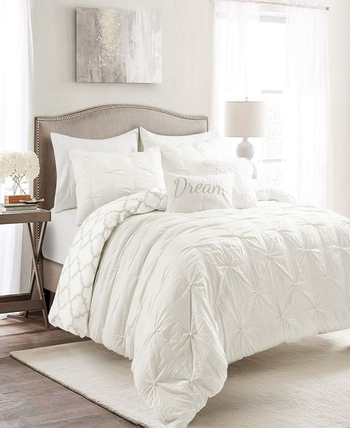 Lush Décor - Ravello Pintuck Geo Reversible 7-Piece Full/Queen Comforter Set
