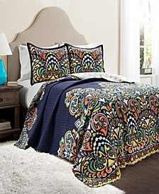 Clara Reversible 3-Piece Full/Queen Quilt Set