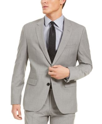 HUGO Hugo Boss Men's Slim-Fit Stretch Light Gray Sharkskin Suit Jacket