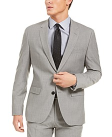 Men's Modern-Fit Stretch Light Gray Sharkskin Suit Jacket