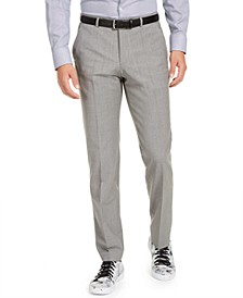 Men's Modern-Fit Stretch Light Gray Sharkskin Suit Pants