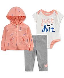 Baby Girls 3-Pc. Zip-Up Hoodie, Bodysuit & Leggings Set