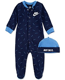 Baby Boys 2-Pc. Tossed-Logo Cotton Coveralls & Hat Set