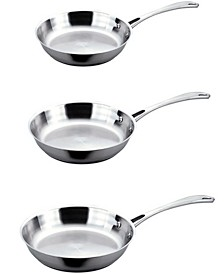 Copper Clad 18/10 Stainless Steel 3-Pc. Fry Pan Set