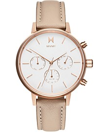 Women's Nova Luna Blush Leather Strap Watch 38mm