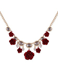 "Two-Tone Crystal & Rose Statement Necklace, 18"" + 2"" extender"