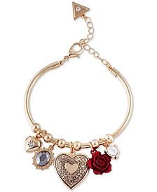 Gold-Tone Multi-Charm Cuff Bracelet