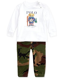 Baby Boys Ski Bear T-Shirt & Camo Pants Set