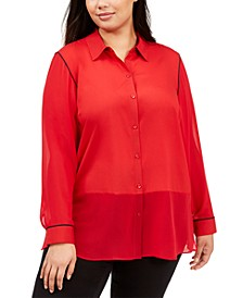 Plus Size Mixed-Media Blouse
