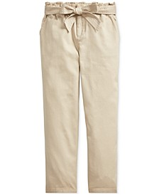 Big Girls Belted Cotton Paperbag Pants