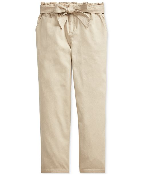 Polo Ralph Lauren Big Girls Belted Cotton Paperbag Pants