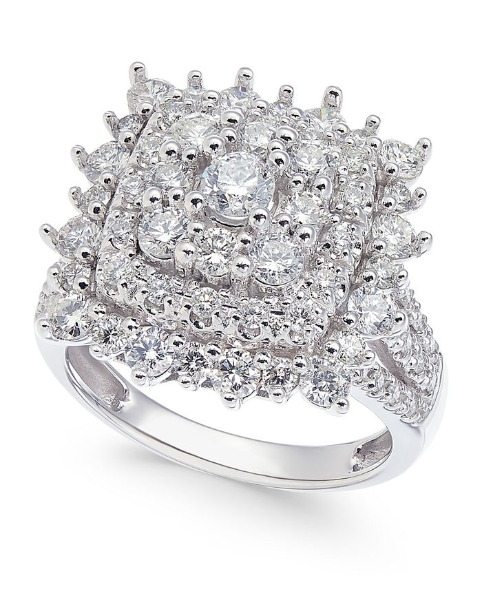 Macy's - Diamond Square Cluster Engagement Ring (2 ct. t.w.) in 14k White Gold