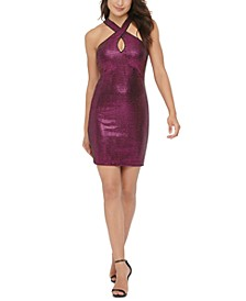 Crisscross Keyhole Sequined Dress