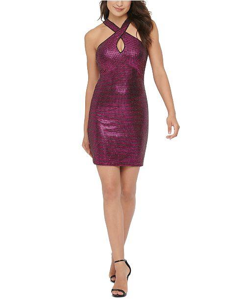 GUESS Crisscross Keyhole Sequined Dress