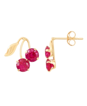 Created Ruby (1-1/3 ct. t.w.) Button Cherry Leaf Earrings in 10k Yellow Gold