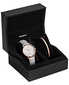 Women's Boulevard Beverly Marble Light Gray Leather Strap Watch 38mm Gift Set