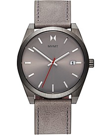 Men's Radium Element Gray Leather Strap Watch 43mm