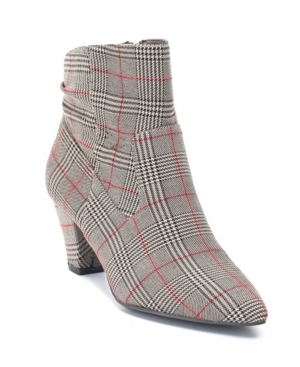 Levi Cone Heeled Plaid Ankle Boot Women's Shoes