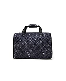 Quilted Duffle Bag with Chain Embellishments