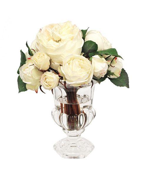 Winward Silks Winward International Roses in Glass Urn Vase