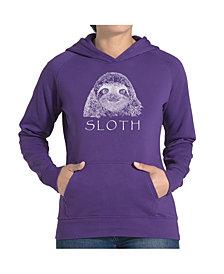 LA Pop Art Women's Word Art Hooded Sweatshirt -Sloth