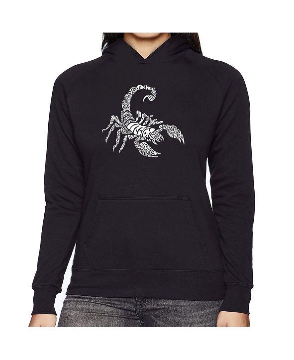 LA Pop Art Women's Word Art Hooded Sweatshirt -Types Of Scorpions