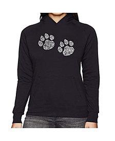 LA Pop Art Women's Word Art Hooded Sweatshirt -Meow Cat Prints