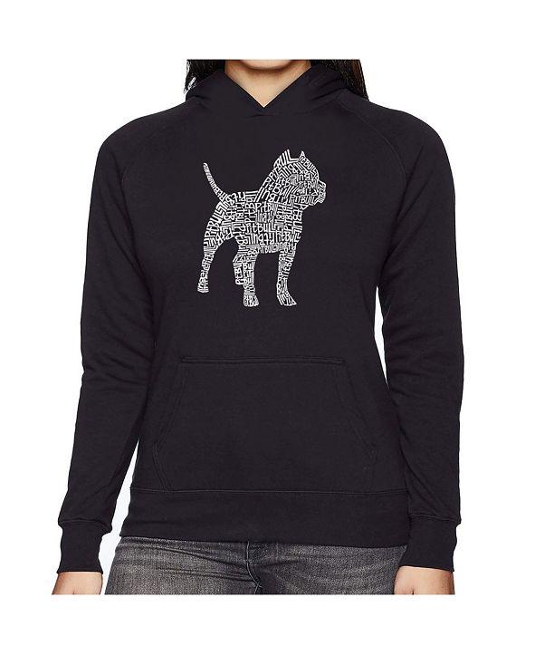 LA Pop Art Women's Word Art Hooded Sweatshirt -Pitbull