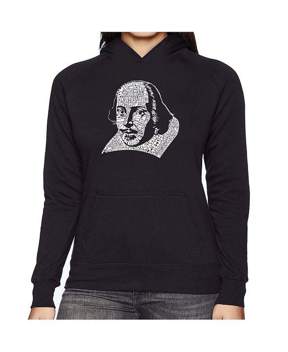 LA Pop Art Women's Word Art Hooded Sweatshirt -The Titles Of All Of William Shakespeare's Comedies & Tragedies