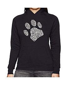 LA Pop Art Women's Word Art Hooded Sweatshirt -Dog Paw