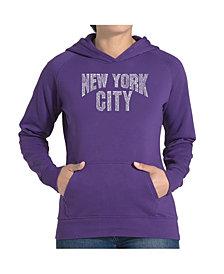 LA Pop Art Women's Word Art Hooded Sweatshirt -Nyc Neighborhoods