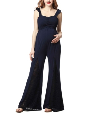 Vintage Maternity Clothes History Kimi  Kai Mel Maternity Lace Trim Jumpsuit $98.00 AT vintagedancer.com
