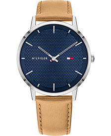 Tommy Hilfiger Men's Light Brown Leather Strap Watch 40mm, Created For Macy's