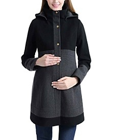Tessa Maternity Wool Blend Colorblock Coat