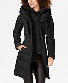 Pillow-Collar Hooded Down Puffer Coat