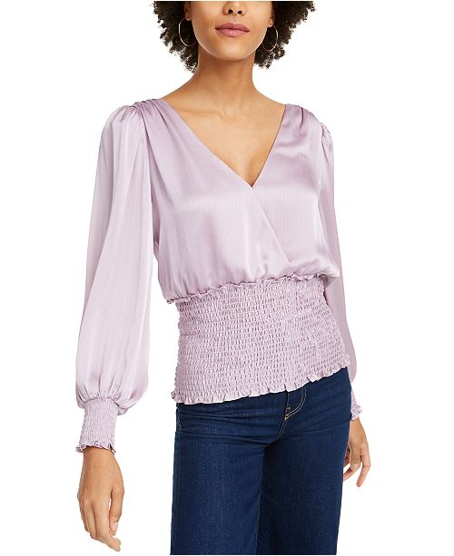 LEYDEN Smocked Surplice Top