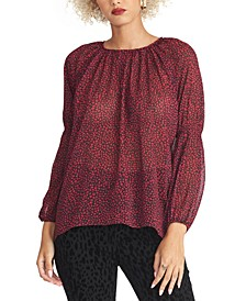 Lola Printed Shirred-Sleeve Top