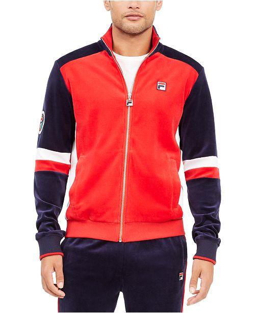 Fila Men's Camden Logo Velvet Track Jacket